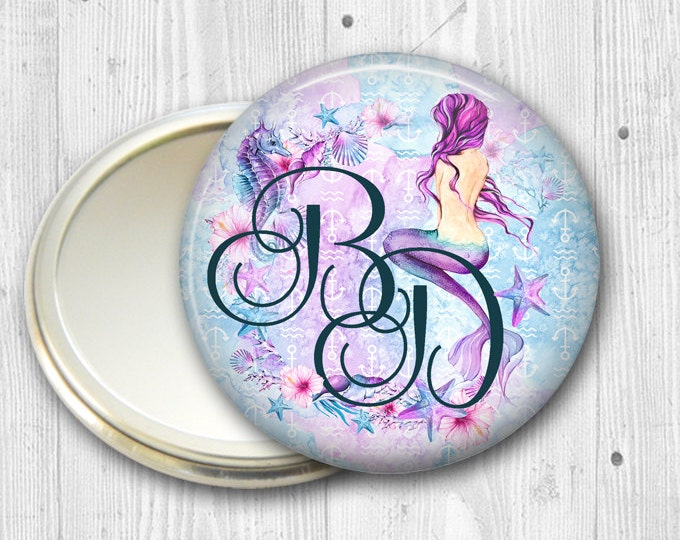 monogram pocket mirror for bridal party gifts - maid of honor gifts - mermaid gifts for her - beach theme wedding party gift - MIR-BCH-7