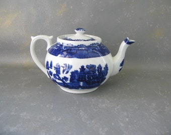 Vintage Blue Willow Teapot, 5 cup, England, Decorative,