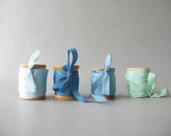 Silky Ribbon on Wood Spools, Wood spools, blue, green, aqua