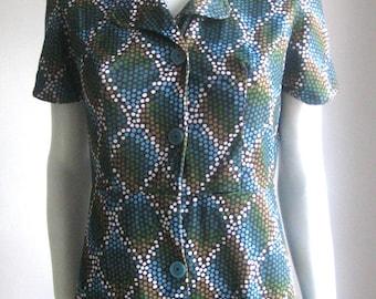 vtg 60s 70s op art dotted mod dress
