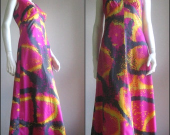 60s 70s vintage abstract maxi dress