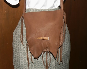 Rendezvous leather possibles bag purse 2 compartments hunting mountain man unisex cross body