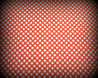 Polka Dot Fabric, Orange Fabric, Half Yard, White and Orange, Halloween Fabric, Orange and White, White Polka Dot, Halloween, Cotton Fabric
