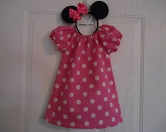 Minnie Mouse costume pink with hairbow or with hairbow and headband 0-3 thru size 6 years