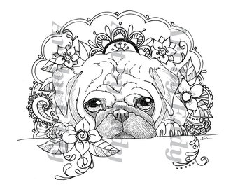 Art of Pug Coloring Book Volume No1 Downloadable Version
