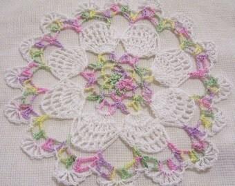 crocheted doily pastels Easter eggs home decor handmade in USA original design