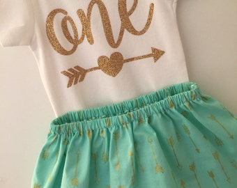 One Birthday Outfit; baby girl gold and seafoam 'one' outfit; onesie and skirt for first birthday