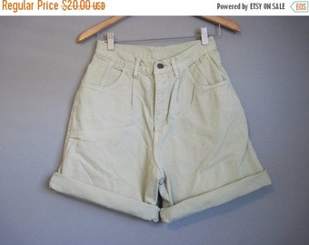 20% Off FALL SALE Green High Waisted Jean Shorts Vintage Denim Small Medium 27