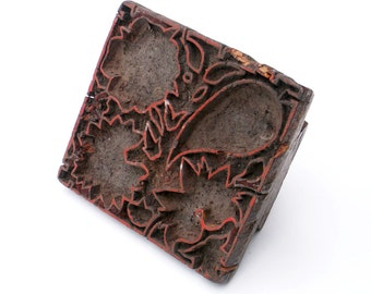 Antique Wood Stamp Hand Carved Printing Textile Block