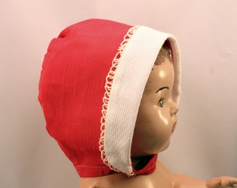 Large Doll Baby Bonnet Hat Red White Trim Teddy Bear Clothes Original