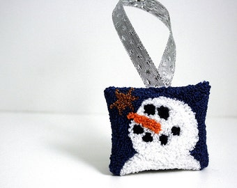 Ready to Ship! Snowman Christmas Ornament. Winter, Holiday Decor. Punchneedle Embroidery. Blue, White, Silver, Copper Star. Maine Balsam Fir
