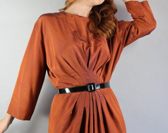 Summer Dress, Vintage 80s does 50s Women's Copper Long Sleeve Wear to Work Spring Office Cocktail Party Dress, Size Medium, FREE SHIPPING