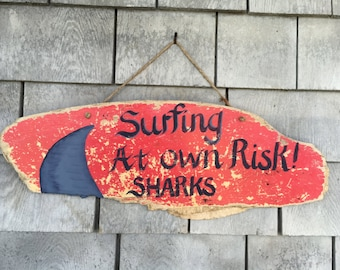 Reclaimed Rustic Wood Hand Painted Surfing Shark Sign, Beach Cottage Home Wall Decor, Home And Living