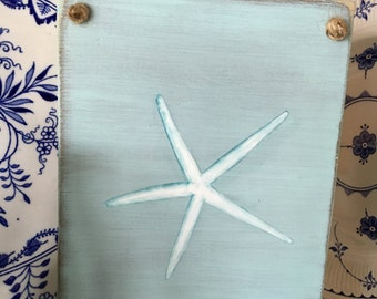 Hand Painted Driftwood Starfish Wall Art Decor, Home And Living, Bathroom Wall Art, Cottage Beach Nautical Decor, Custom Signs