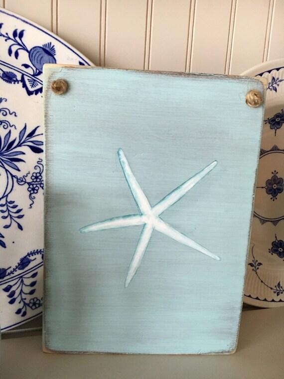 Hand Painted Driftwood Starfish Wall Art Decor, Home And Living, Bathroom Wall Art, Cottage Beach Nautical Decor, Custom Signs