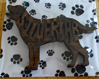 Silver Lab Handmade Fretwork Jigsaw Puzzle Wood Dog