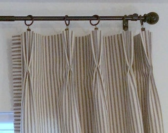 3 Black And White Horizontal Stripe Curtain By Lafortunelinens