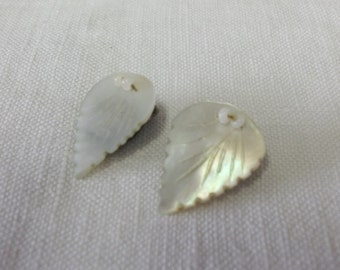 Vintage 1970's Leaf Shaped Mother of Pearl Clip Earrings
