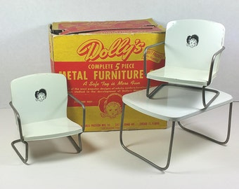 """DOLLY'S METAL FURNITURE Set, Republic Precision Mfg., Chicago, Original Box, 1945, 8"""" Doll Size, Vintage Ginny, Wendy Table and Chairs"""