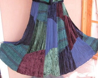 Two piece skirt and vest- Patchwork of velvet, cotton and rayon