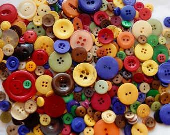25 Buttons, Autumn Harvest Mix, Yellows, Reds, Browns, Greens, Orange, Purple, Assorted sizes, Crafting, Jewelry, Collect (1430 -)