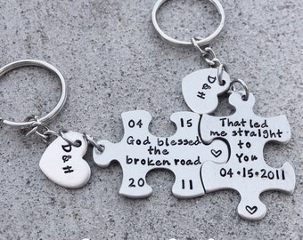 Personalized Hand Stamped God Blessed the Broken Road keychain