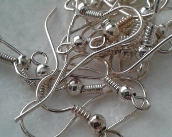 100 pc (50 total  pairs) nickel free silver color earring hooks ear wire