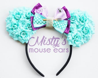 Inspired Ariel Little Mermaid Rose Mouse Ears