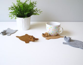 Bear Rug Coaster (Set of Five)