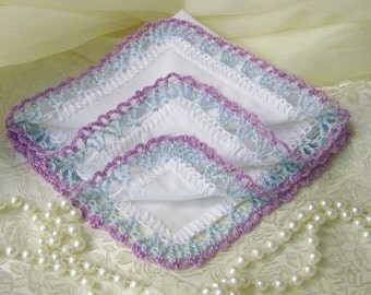 Lavender and Blue Crochet Handkerchief, Crochet Hanky, Lace Handkerchief, Personalized, Embroidered, Monogrammed, Bridesmaids Hanky