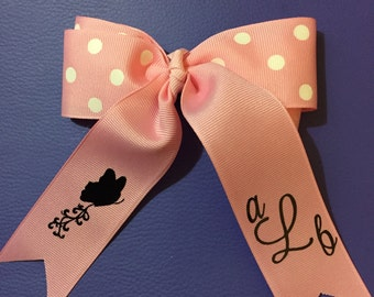 Hair bow/initials/custom/butterflies/handmade