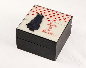 Love Is In The Air Wood Keepsake Box, I Love You,  Gifts for Cat Lovers, Cat Artwork Deborah Julian