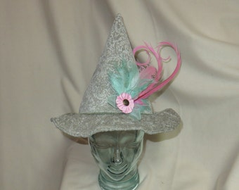 Seafoam Green Brocade Witch Hat with Pink and Green Feathers