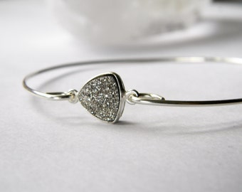 Druzy bangle. Sterling Silver Druzy Bangle. Triangle shaped druzy bracelet. Stackable bracelet bangle. Made in Maine. Sparkly bracelet.