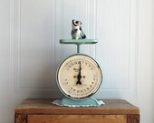 Vintage Seafoam Way Rite, Antique Metal Kitchen Scale,Retro Farmhouse Shabby Chic,Rustic Home Decor, Old Fashioned, Pound Weight, Distressed