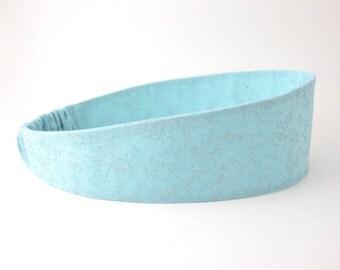 Fabric Headband Aqua Blue Silver Glitter