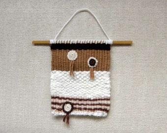 Hand Woven Wall Hanging, Rustic Textile Fiber Art, Weaving, Crochet, Boho Home Decor, Bamboo Rod, Textured, Small