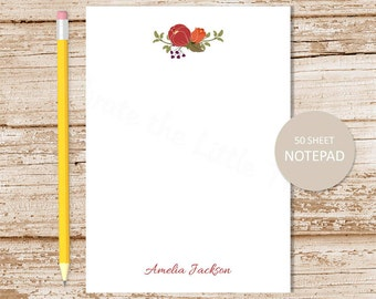 personalized notepad . rustic flowers notepad . floral note pad . autumn fall nature . personalized stationery . stationary