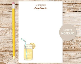 personalized lemonade notepad . lemonade note pad . mason jar notepad . girls stationery . personalized stationary