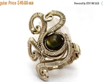Steampunk Ring Wire Wrapped Ring Labradorite Ring Gemstone Ring German Silver Wire Gothic Ring Women Ring Green Stone Ring Handmade Ring