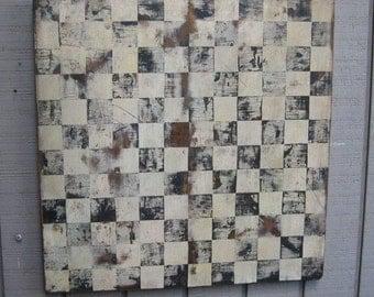 Primitive Rustic Checkerboard - Handmade/Hand Painted - Black/White