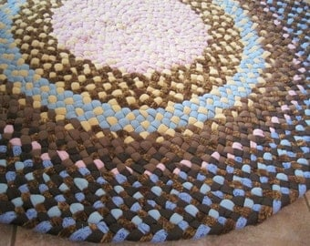 Ready To Ship Handmade Braided Round Recycled Rug / Carpet / Rag Rug in shades of browns and blues for nursery / children's rug / bathroom
