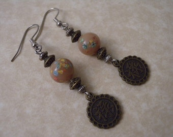 """Beige """"Natural Silk"""" Colored Chinese Coin Earrings in Antique Brass"""