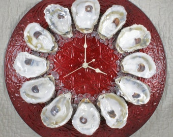 Oysters on the Half Shell Wall Clock - ruby red platter