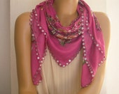 pink scarf with crochet trim, sequines, flower, paisley