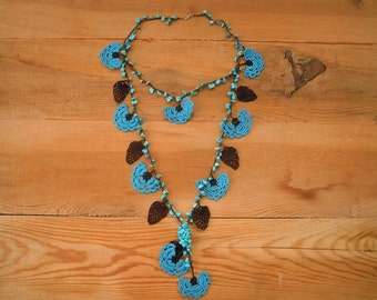 crochet flower necklace, turquoise brown