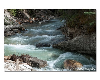Mountain Lodge Decor, Turquoise Photography, Canadian Landscape Print, Lake House Wall Art, Teal Water Stream, 8x10 8x12 11x14 12x18 Inches