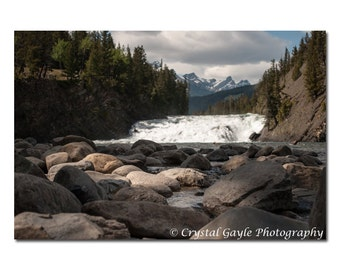 Bow Falls Photography, Canadian Waterscape Print, Large Stones in River, Woodland Picture, Rocky Mountains, Christmas Gifts for Guys & Girls