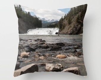 Masculine Bedroom Decor, Rustic Mountain Lodge Accent, Brown Pillow Covers For A Cabin, Lake House Summer Cushion Case, Bow River Alberta