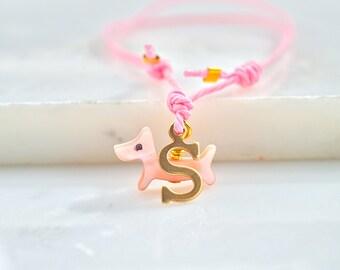 Dog bracelet,personalised friendship bracelet,mother of pearl bracelet,dog sitter gift,cord bracelet with dog
